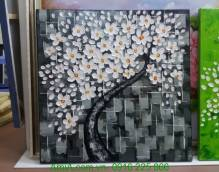 Tranh vẽ cây đời sơn dầu đắp nổi nền caro xám trắng TSD 284