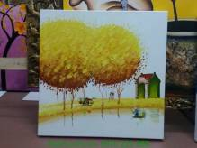 Tranh sơn dầu bóng cây vàng bên bờ sông TSD 285