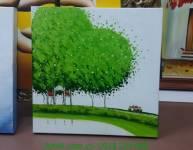 Tranh vẽ sơn dầu còn đường làng cây xanh TSD 287