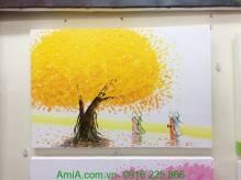 Tranh vẽ sơn dầu phong cảnh con đường cây lá vàng TSD 289