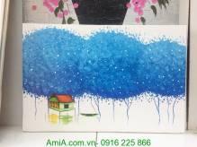 Tranh vẽ sơn dầu ngôi nhà bên hàng cây xanh TSD 292