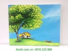 Tranh sơn dầu ngôi nhà bên bờ sông khổ nhỏ TSD 296