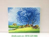 Tranh sơn dầu phong cảnh ngôi nhà xuân xanh TSD 298