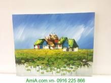 Tranh vẽ sơn dầu khổ nhỏ ngôi nhà bên hồ sen TSD 303
