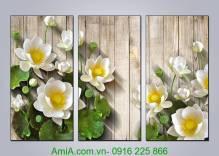 Tranh hoa sen 3D treo tường hợp phong thủy AmiA 1330