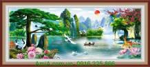 Tranh thiên nhiên sơn thủy sông núi nước non AmiA 1329