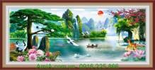 Tranh phong cảnh đẹp thiên nhiên sông núi nước non AmiA 1329