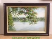 Tranh vẽ phong cảnh sơn dầu hồ gươm Hà Nội TSD 312