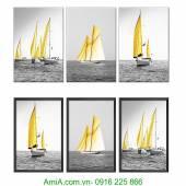 Bộ tranh thuyền buồm treo tường 3 tấm AmiA 1335