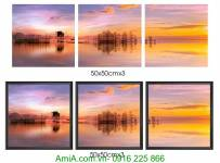 Tranh phong cảnh đẹp hoàng hôn ghép bộ 3 tấm AmiA 1339