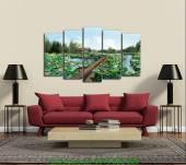 Tranh phong cảnh hoa sen treo tường ghép bộ khổ lớn AmiA 1343