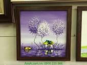 Tranh vẽ sơn dầu khổ nhỏ ngôi nhà trên sông tím TSD 315