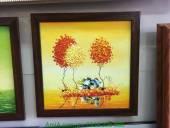 Tranh vẽ sơn dầu phong cảnh khổ nhỏ Thu vàng TSD 318