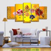 Tranh gỗ treo tường hoa mẫu đơn 9 bông AmiA 1351