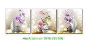 Bộ tranh bình hoa 3D nghệ thuật treo tường AmiA 1356