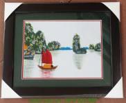 Bức tranh thêu tay khổ nhỏ: Vịnh Hạ Long TTH 207