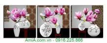 Tranh ghép bộ treo tường bình hoa mộc lan AmiA 1376