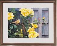 Tranh khung treo tường nghệ thuật: Chú chim nhỏ và hồng vàng AmiA 1367