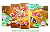 Tranh ghép bộ khổ lớn treo tường Cá Chép Hoa Sen AmiA 4116A