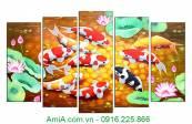 Tranh-ghep-bo-kho-lon-treo-tuong-Ca-Chep-Hoa-Sen-AmiA-4116A