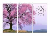 Tranh phong cảnh cây hoa anh đào 3 tấm AmiA 1287