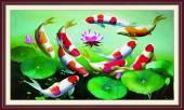 Bức tranh khung cá chép hoa Sen treo tường ý nghĩa AmiA 1390