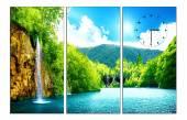 Tranh đồng hồ thác nước thiên nhiên tuyệt đẹp AmiA 1399