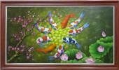 Rước lộc Xuân cùng Tranh Cá chép hoa Sen vẽ sơn dầu TSD 356