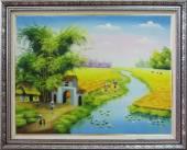 Tranh vẽ nông thôn quê em ngày mùa sơn dầu TSD 357
