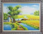 Tranh vẽ phong cảnh quê hương ngày mùa sản xuất TSD 358