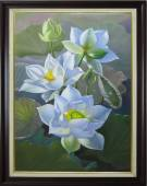 Tranh vẽ Sen trắng tinh khôi AmiA TSD 361