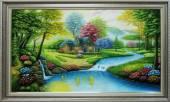 Tranh vẽ phong cảnh ngôi nhà hạnh phúc trong rừng xanh TSD 363