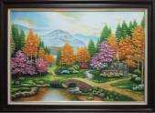 Bức tranh vẽ ngôi nhà nhỏ trong rừng bình yên TSD 366