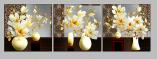Tranh bộ 3 bình hoa mộc lan phú quý AmiA 1406