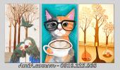 Tranh treo phòng trẻ em Bắc Âu AmiA 1411 chú mèo đáng yêu