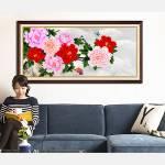 Tranh hoa mẫu đơn 9 bông ý nghĩa treo tường AmiA 1418