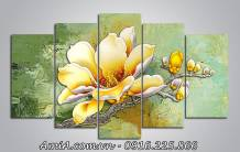 Tranh bông hoa mộc lan phú quý giả sơn dầu nghệ thuật AmiA 1419