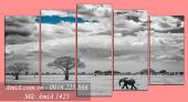 Tranh phong cảnh hoang mạc thiên nhiên đen trắng AmiA 1425