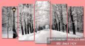 Tranh phong cảnh thiên nhiên đen trắng mùa đông AmiA 1424