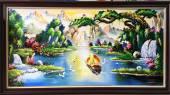 Tranh vẽ phong cảnh sơn thủy hữu tình sơn dầu TSD 384