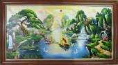 Tranh vẽ phong cảnh sông núi khổ lớn bằng sơn dầu TSD-385