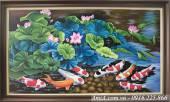 Tranh sơn dầu vẽ cá chép hoa Sen khổ lớn TSD 389