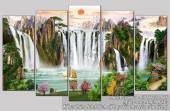 Tranh phong cảnh sơn thủy Trung Quốc đẹp hữu tình AmiA 1437