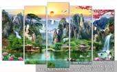 Tranh sơn thủy Trung Quốc đẹp treo tường hợp phong thủy AmiA 1442