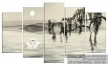 Tranh đen trắng đôi uyên ương dưới trăng AmiA 1450