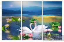 Tranh đôi uyên ương hồ Sen bộ 3 tấm AmiA 1452
