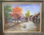 Tranh sơn dầu phố cổ: Gánh hàng rong khổ nhỏ Amia TSD 399