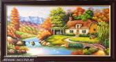 Tranh sơn dầu phong cảnh ngôi nhà xích đu TSD 405