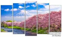 Tranh phong cảnh đẹp Nhật Bản: Núi Phú Sỹ hoa anh đào AmiA 1464