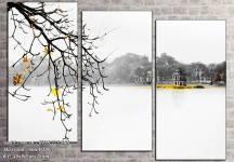 Tranh đen trắng phong cảnh hồ Gươm Hà Nội AmiA 1467